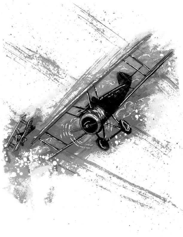 """Illustration for """"The Devil's Fokker"""" Copyright (c) 2019 by LA Spooner. Used under license."""